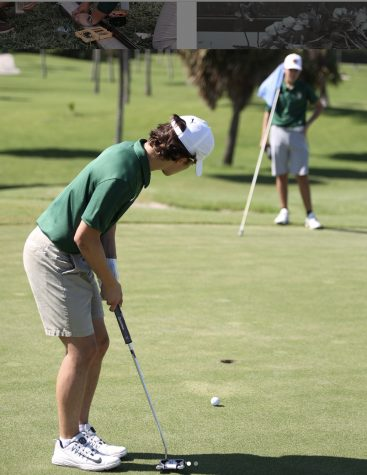 ILS golf team member readies for a putt.