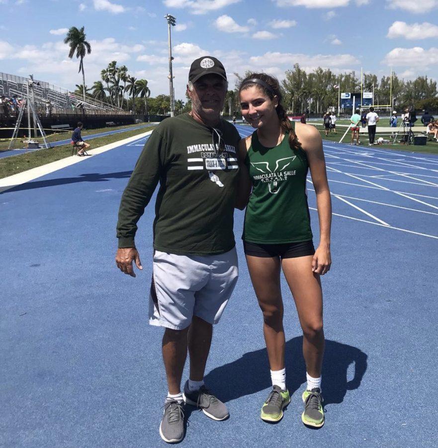 Coach Eddie Cerdeiras with senior runner Anabel Toldeo.