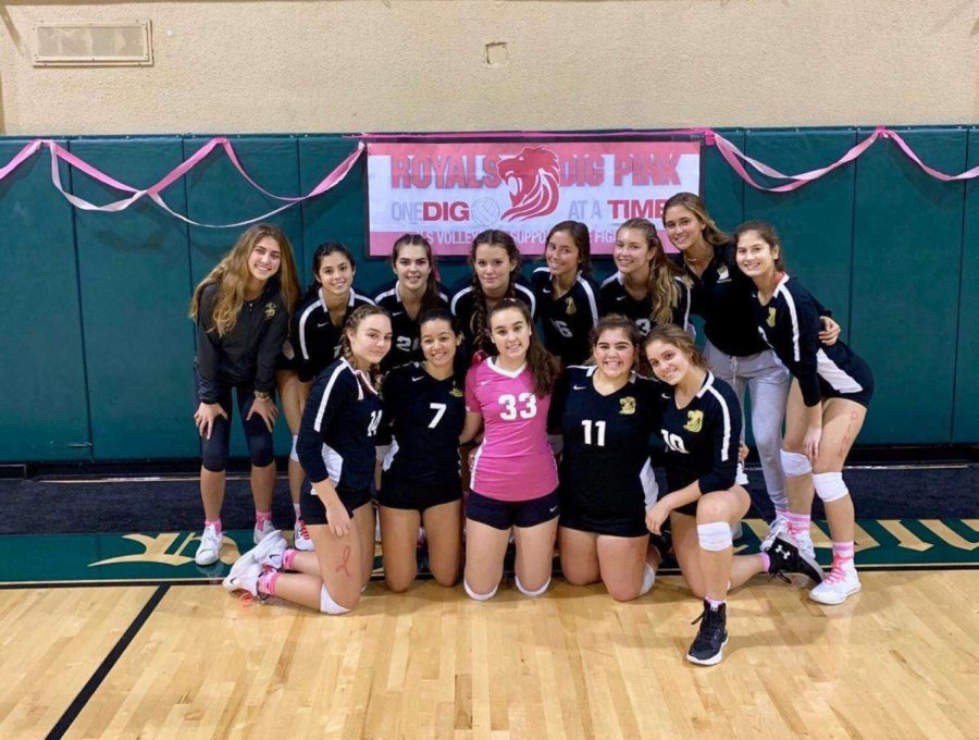 Girls Volleyball Team at Dig Pink