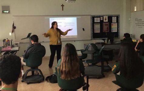 Mrs. Dalyla Rodriguez teaching one of her many english classes.