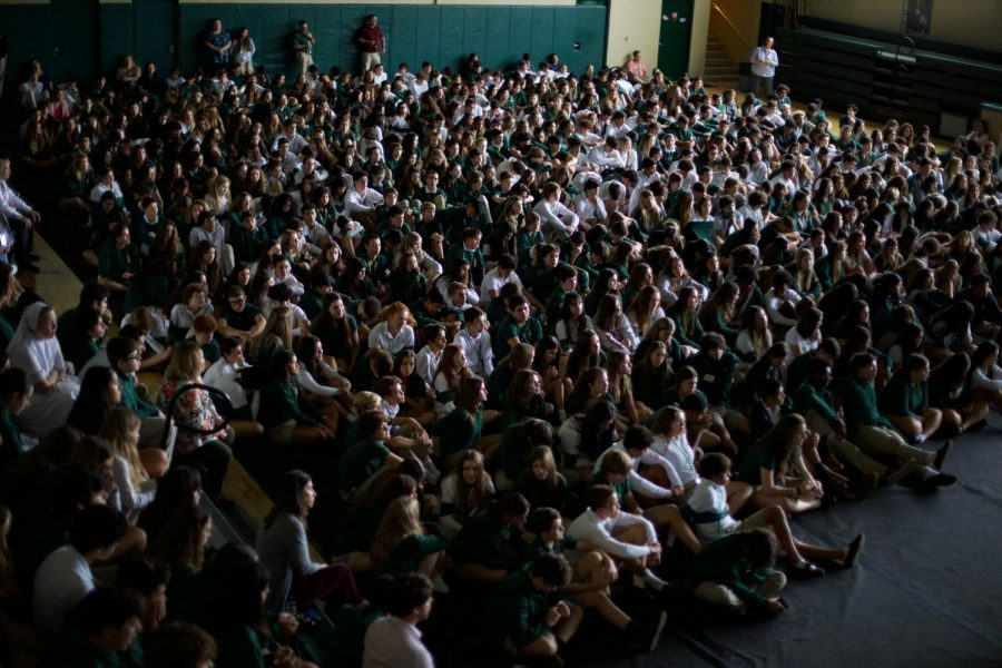 ILS students participated in the rosary prayer service on Monday in the gym.