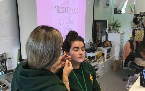 ILS Fashion Club leaders Melissa Marquez and Julia Campos take part in the Think-Pink Makeup Tutorial.