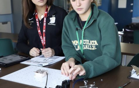 ILS seniors Isabella Falero and Nicole Hawley participate in the Space Plant Labs for AP Environmental Science.