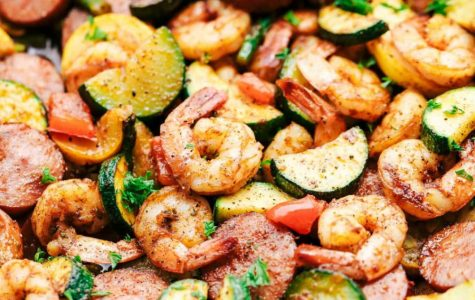 Cajun Shrimp and Sausage Vegetable Skillet.