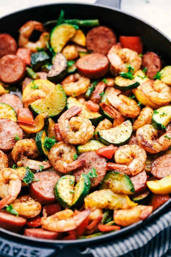Cajun Shrimp and Sausage Vegetable Skillet.