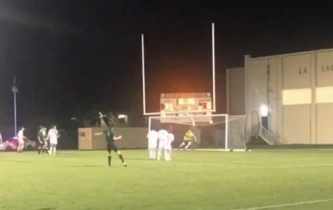 Senior Marcello Aedo scores on a free kick to push the ILS lead to 4-0.