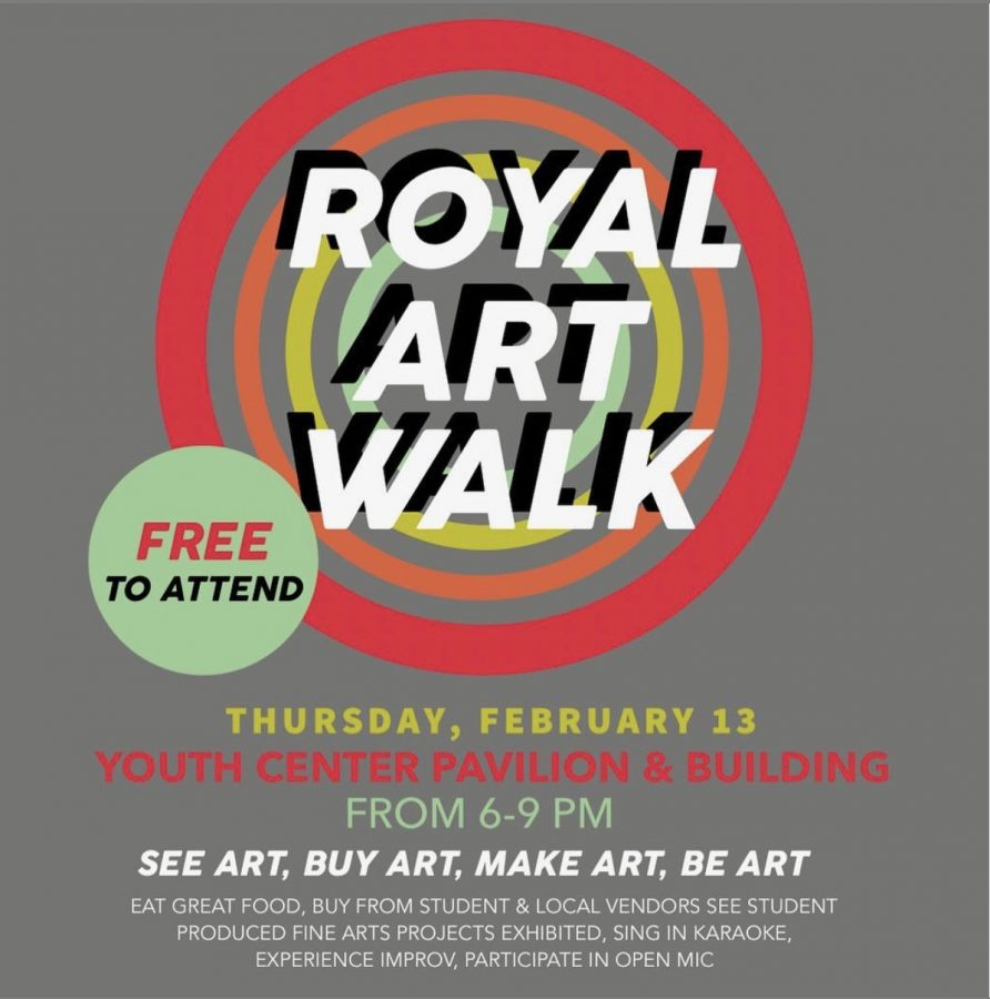 The Royal Art Walk has been rescheduled for Thursday, February 13th.
