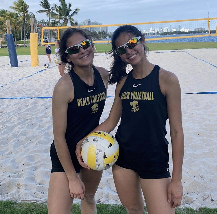 Senior volleyball players Bella Falero and Mikayla Sanchez-Torrelio were part of ILS's inaugural beach volleyball team.