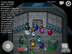 Lobby of Among Us, one of the games played during the virtual field trip