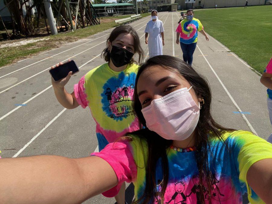 Senior Sophia Orihuela snapped a selfie during the walk.