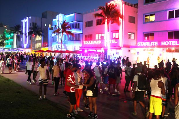 Crowds in Miami Beach