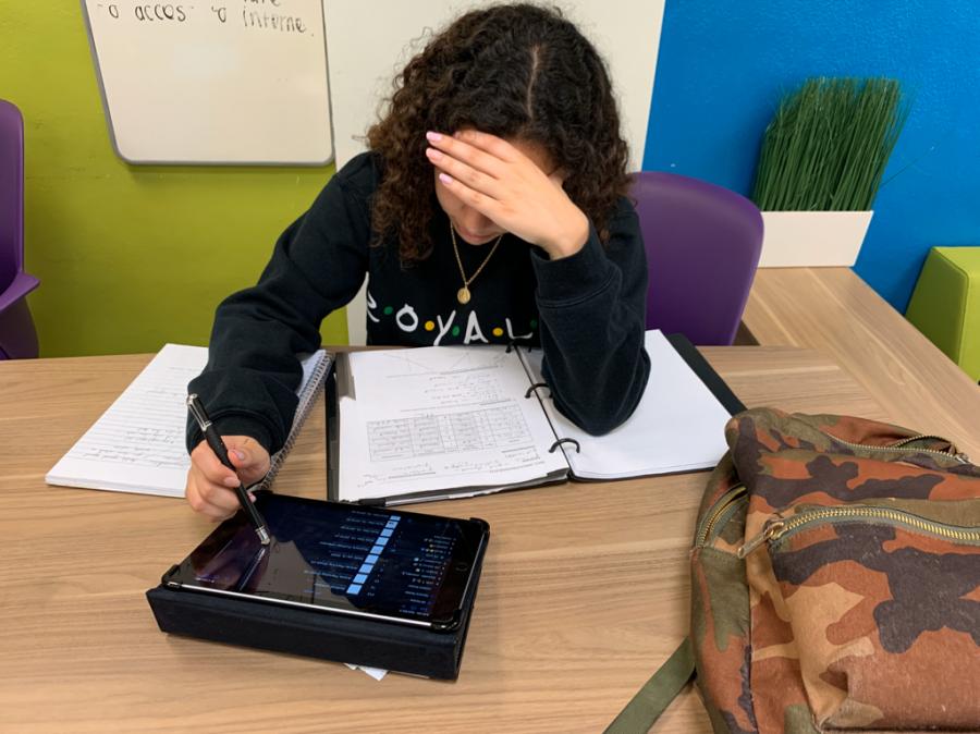 Senior Lia Sarria working on her homework.