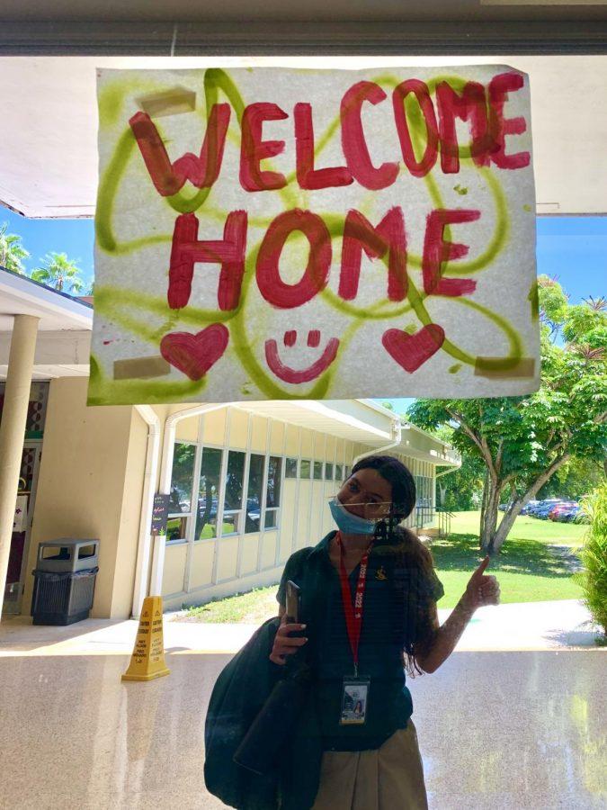 Senior Karla Cruz excited to be back home!!