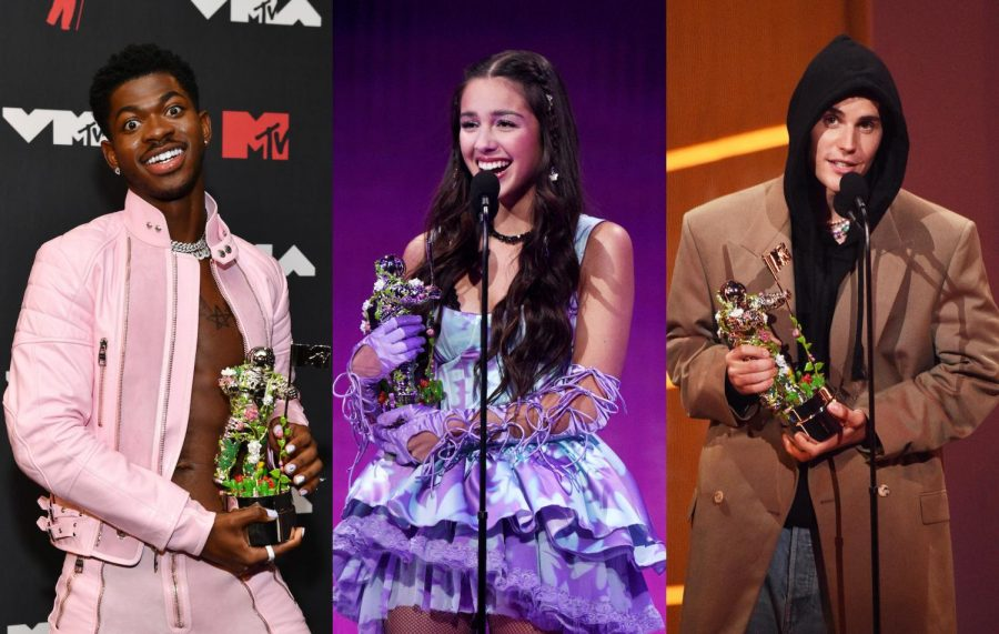 Lil Nas X (left), Olivia Rodrigo (middle), and Justin Bieber (right) accepting awards at the VMAs 2021.