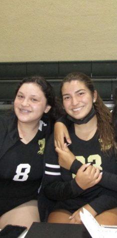 Sophomore Miranda Dunbar and her best friend, fellow sophomore Lucia Gonzalez after a match.