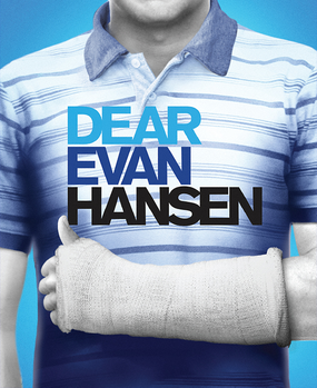 Dear Evan Hansen movie cover, which depicts Platt with the iconic cast on his arm.