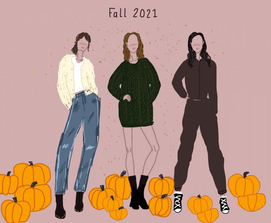 Three fashion sample looks for fall of 2021.